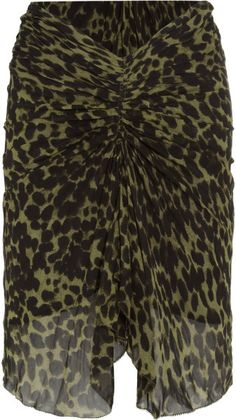 ETOILE ISABEL MARANT Green Coleen Ruched Leopardprint Crepe Skirt | The House of Beccaria~