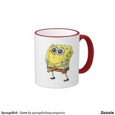SpongeBob - Love Ringer Coffee Mug. Regalos, Gifts. Producto disponible en tienda Zazzle. Tazón, desayuno, té, café. Product available in Zazzle store. Bowl, breakfast, tea, coffee. Día de los enamorados, amor. Valentine's Day, love. #ValentinesDay #SanValentin #love #taza #mug