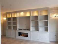 Bespoke TV unit with electric fire Built In Tv Wall Unit, Wall Units With Fireplace, Built In Shelves Living Room, Feature Wall Living Room, Bedroom Built Ins, Tv Built In, Basement Living Rooms, Fireplace Built Ins, Home Fireplace