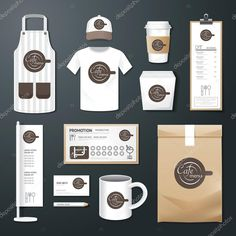 vector restaurant cafe set flyer menu package t-shirt cap uniform design/ layout set of corporate identity template. Coffee Shop Branding, Coffee Shop Business, Coffee Shop Logo, Cafe Branding, Coffee Shop Design, Cafe Logo, Coffee Shops, Cafe Menu, Cafe Bar