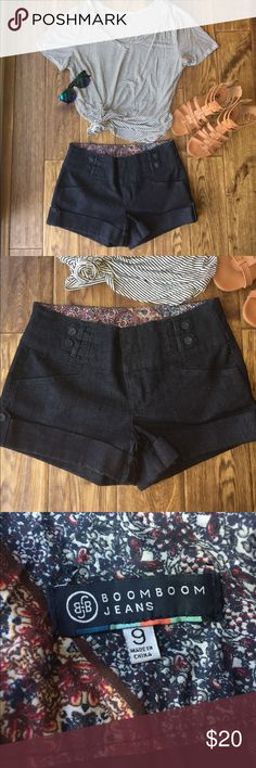 Trouser style shorts Great for a summer BBQ! The length is a little above the middle of the thigh, thicker material, never worn! Cute paisley print on the inside, and button details on front! Make me an offer!:) Boom Boom Jeans Shorts Jean Shorts