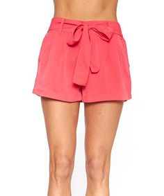 Look what I found on #zulily! Coral Tie-Waist Shorts #zulilyfinds