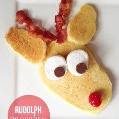 Rudolph pancakes on iheartnaptime.com ...a fun Christmas tradition! #reindeer #rudolph #pancakes