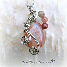 Pink Raspberry Quartz Wire Wrapped Pendant Necklace in Gunmetal by CareMoreCreations.com, $29.00