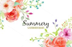 Watercolor Clipart Summery by Corner Croft on Creative Market