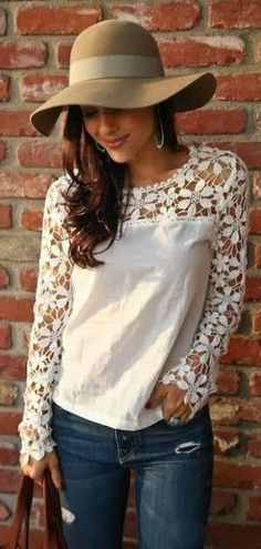 Fantastic White Lace Top Great Casual Look