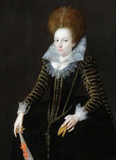 """""""Portrait of an Unknown Lady, Aged 31, Holding a Glove and a Fan"""", style of Marcus Gheeraerts the younger, 1609; NT 960230"""
