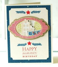 Summer Birthday Card by Betsy Veldman for Papertrey Ink (July 2013)