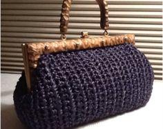 Vintage Navy Blue Raffia  Bag / Handbag / Crocheted Purse / Handcarved Wood / Retro / 1960s / Wedding / Easter / Spring / Tea Party Chic on etsy