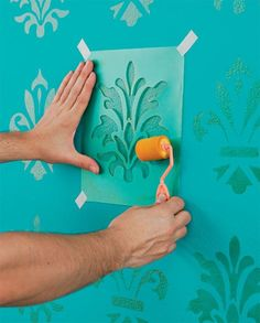 How to Make Stencil for Wall Decor (Molds) - Creative Ideas 💡 Diy Wall Painting, Stencil Painting, Diy Wall Art, Painting Textured Walls, Stencil Decor, Diy Wand, Mur Diy, Do It Yourself Decoration, Stencils
