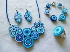Kék - fehér modern ékszer szett nyakékkel.