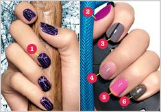 New nail polish designs! Shatter (obvs) plus racing stripes, ombre, electric french mani, and chunky glitter. We tell you how to do 'em all.