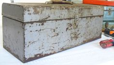 Vintage Gray Metal Tool Box, Large Industrial Storage Container, Old Metal Gray Rusty Tool Chest for Shop, Work, Office, Garage and Camper by AgsVintageCove on Etsy