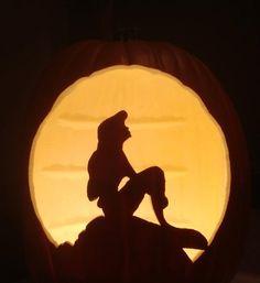 Ariel. #littlemermaid #disney #pumpkin #pumpkincarving #halloween   Pattern by Stoneykins.com