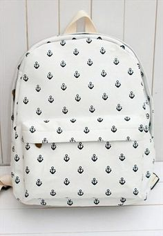 Canvas Backpack with Anchor Embellishment TFV312