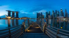 Finance Gateway - A morning blue hour shot of Singapore Finance District and Marina Bay Sands