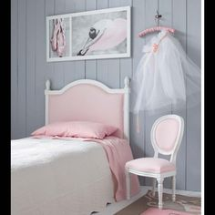 Headboard for child''s bed Pink  LOUIS. Love the chair too.