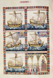 Miniature from the Ballads of Saint Mary, by Alfonso X the Wise, thirteenth… Medieval Manuscript, Medieval Art, Illuminated Letters, Illuminated Manuscript, Santa Maria, Sea Art, Gothic Art, Old Master, Mini Books