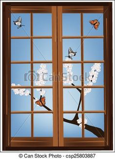 Vector - blooming tree branch with butterflies in the window - stock illustration, royalty free illustrations, stock clip art icon, stock clipart icons, logo, line art, EPS picture, pictures, graphic, graphics, drawing, drawings, vector image, artwork, EPS vector art