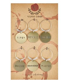 Look what I found on #zulily! Drunk Wine Charm Set - Set of Six #zulilyfinds