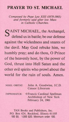 Prayer to St. Michael. Buy holy cards, books and many more items from Tan Books.