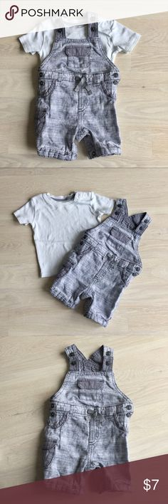 🇬🇧 boys grey overalls & t-shirt set 6-9 months From England 🇬🇧 Super cute grey overalls with button fastenings and pocket details, white short sleeve t-shirt included for under. Size 6-9 months, approx weight is listed on the picture. In very good used condition, from pet free, smoke feee home One Pieces
