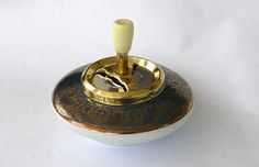 Vintage German Push Down Spin Ashtray Ceramic Mid Century