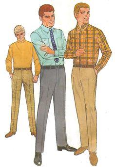 """Vintage 1960's Sewing Pattern Men's Shirt & Hipster Slacks Neck 15"""" Waist 34"""""""