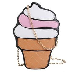 Women Kawaii Cupcake Ice Cream Cluthes Bag (10 AUD) ❤ liked on Polyvore featuring bags, handbags, as picture, clutches bags, cream purse, cream bag et cream handbag