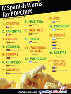 17 Spanish Words for Popcorn: Infographic and Posters. Here is a list of 17 Spanish words for popcorn used in Latin America. Spanish Grammar, Spanish Vocabulary, Spanish Language Learning, Spanish Teacher, Spanish Classroom, Teaching Spanish, Teaching French, Classroom Ideas, Spanish Basics