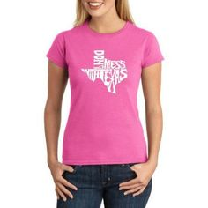 Los Angeles Pop Art Juniors dont Mess With Texas Word Art T-Shirt, Size: 2XL, Pink