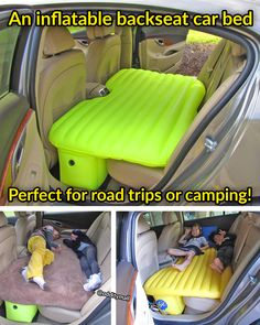 This Inflatable Backseat Car Bed Lets You Sleep Comfortably In Your Car While On The Go. It's perfect for road trips or camping, and works in any vehicle with a backseat!