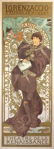 "Alphonse Mucha (1860-1939). Poster for ""Lorenzaccio"". 1896. Colour lithograph. Mucha Museum - Prague - Czech Republic"