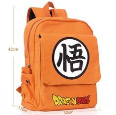 ANIME Dragon Ball Z Shoulder BAG SCHOOL BACKPACK Son Goku Orange Canvas