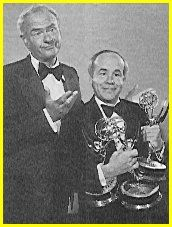 Harvey Korman and Tim Conway at Emmys Hollywood Stars, Classic Hollywood, Harvey Korman, Jim Nabors, Carol Burnett, The One Show, Those Were The Days, Comedians, Movie Stars