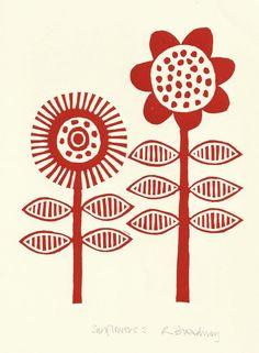 Red sunflowers lino print via Etsy