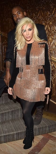 Kim Kardashian and Kanye West at the Balmain aftershow dinner.
