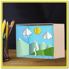 Enseñemos a nuestros alumnos el ciclo del agua de una manera divertida. ¿Saben cuánta agua hay en el planeta Tierra?  ¿Qué necesitas? Lápiz adhesivo marca Pritt, una caja de cartón, hojas de papel de diferentes colores, tijeras, hilo transparente y 1 aguja de canevá para perforar el cartón. #Manualidades #DIY #Crafting #Pritt #Niños #Escuela