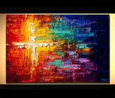Original Abstract Painting Colorful Art  textured by OsnatFineArt,