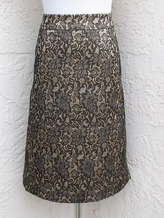 Lane Bryant Plus Size 24 Faux Lace Floral Dark Gray Taupe Lined Stretch Skirt | eBay