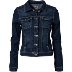 Only Westa Denim Jacket (1,780 MKD) ❤ liked on Polyvore featuring outerwear, jackets, tops, coats, coats & jackets, denim blue, womens-fashion, button jacket, flap jacket en blue jackets