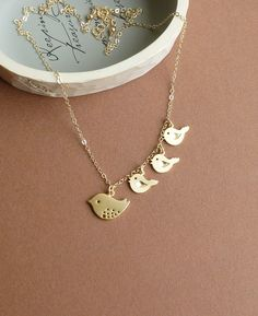 Three Little Birds In My Ear -- Mother and three chirping baby birds with 14k Gold Filled Chain.