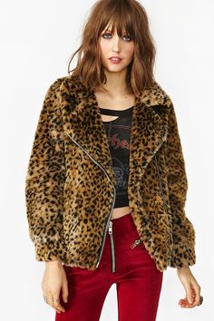 Donna Leopard Moto Coat- Amazing vintage-inspired faux fur coat featuring a leopard print and side pockets. Asymmetric zip closure, fully lined. Looks perfect tossed on with vintage tee or body-con dress! By UNIF.