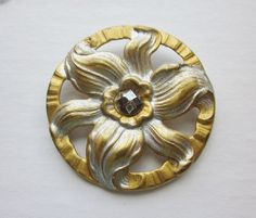 Wonderful Medium Vintage Pierced Brass Button with Paint and Faceted Steel Trim.  Detailed Flower. OneWomanRepurposed B 419 by OneWomanRepurposed on Etsy