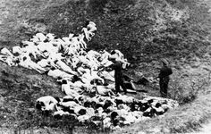 """""""In 1942 at Mizocz, in the region of Rovno in Ukraine, approximately 1,700 Jews were executed. The photographs show large numbers of people being herded into a ravine, women and children undressing, a line of naked women and children in a queue and finally their executed bodies. Two particular harrowing photographs show German police standing among heaps of naked corpses of women strewn on either side of the ravine."""" (Struck, Janina, Photographing the Holocaust, pp. 72-73)"""