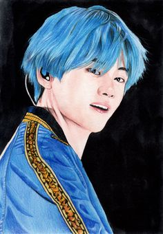 Kim Taehyung member of korean boy band BTS. Made on 300 g Canson paper, with 21 cm x cm in x in). Mixedmedia (watercolors and crayons). Taehyung, K Fashion, Bts, Unusual Gifts, Brighten Your Day, Beautiful Artwork, Korean Boy Bands, Wall Art Decor, Etsy Store