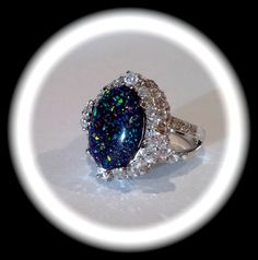 Vintage Black Opal and Pave Estate Jewelry Ring