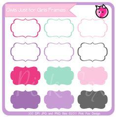 INSTANT DOWNLOAD - just for girls labels, tag clipart,  printable labels,  pink, purple, cards, invitations, scrapbook,  digital frames