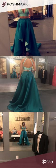 Rachel Allan Prom Dress Size two piece blue/green, never been wore! tags still on it. Prom Dresses, Formal Dresses, Fashion Tips, Fashion Design, Fashion Trends, Blue Green, Stylists, Tags, How To Wear