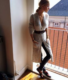 cozy yet stylish knitwear with belt